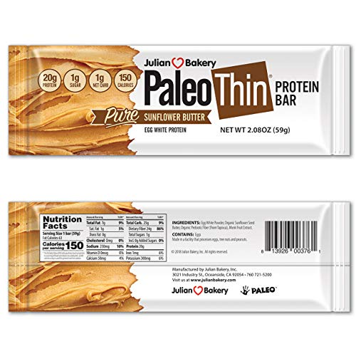 Paleo Thin Protein Bar (Organic Sunflower Butter) (150 Cal, 20g Egg White Protein 5 Net Carbs) (12 Bars)