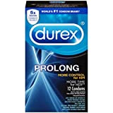 Durex Prolong with Brass Lunamax Pocket Case, Extended Climax Control Latex Condoms-12 Count