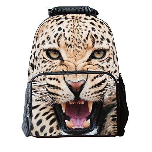 Skymoon Children's 3D Animal School Backpacks (16 Inch,Yellow Leopard)