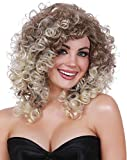 Dreamgirl Women's Long Curly Wig with Dark Roots, Multi, Adjustable