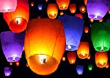 TMS 50 Mix Colors Chinese Paper Sky Flying Wishing Lantern Lamp Candle Party Wedding Wish