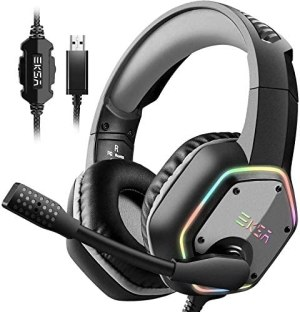 EKSA USB Gaming Headset for PC – Computer Headphones with 7.1 Surround Sound Stereo Noise Canceling Mic/Microphone RGB Light – Gaming Headphones for PS4 Console Laptop
