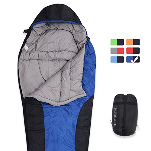 Sleeping Bag – Camping Mummy Lightweight,Waterproof,Comfort With Compression Sack–Tent Sleeping Bags Suitable for Winter, Camping,Hiking,Outdoor Activities (Navy Blue & Black / Right Zip, Mummy)