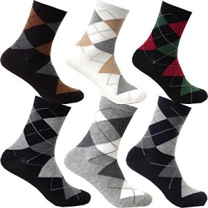 myglory77mall 6Pairs Mens Patterned Variety Style Fashion Cotton Casual Socks