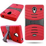 Sharp Aquos Crystal Case (Red/Black) CoverON Heavy Duty Protective Hybrid Phone Cover for Sharp Aquos Crystal 306SH