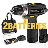 """Cordless Drill, TECCPO 12V MAX Drill, Compact Drill set with 2Pcs 2000mAh Batteries, 2-Speed, 20+1 Torque Setting, Fast Charger, 265In-lbs Torque, 3/8"""" Chuck, 29pcs Accessories - TDCD01P"""