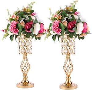 Metal Crystal Wedding Centerpiece Vases for Tables Set of 2, Gold Trumpet Flower Vase Stands for Wedding Party Reception Dining Room Living Room Decor (2S)