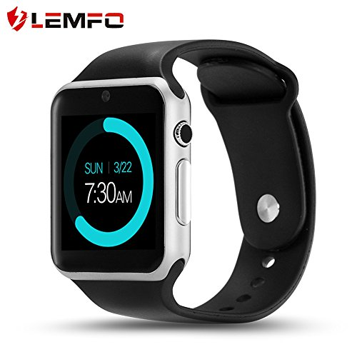 LEMFO IW08 Smart Watch Cell Phone Fitness Tracker Bluetooth WristWatch with Camera for Android Smartphones (Silver Black)