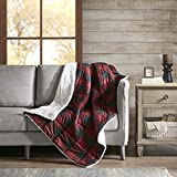Woolrich Linden Oversized Sofstpun to Sherpa Berber Down Alternative Ultra Soft Warm Throw Blanket for Couch, Bed, 50X70 Inches, Red
