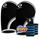 Z ZEALSPOT Elbow Sleeves (Pair) W/Bonus Heavy Duty Wrist Wraps-Support & Compression for Weightlifting, Powerlifting, Crossfit,Bench Press and Tennis-5mm Neoprene Brace for Both Women & Men,Black,XL