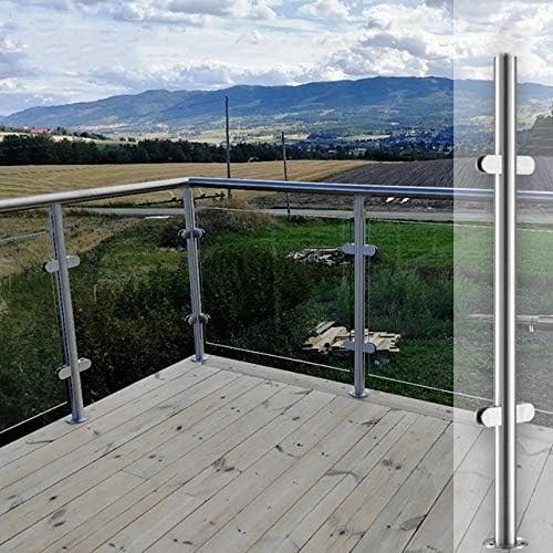 Amazon Com Nopteg 43 Glass Railing Hardware 304 Stainless Steel | Stair Railing Glass Panel | Tempered Glass | Wood | Stainless Steel Railing Systems | Base Shoe | Aluminum