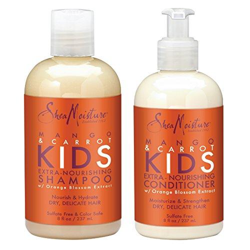 SheaMoisture Mango & Carrot KIDS, Extra-Nourishing, Shampoo and Conditioner, Orange Blossom Extract, Dry, Delicate Hair, 8 fl oz Each