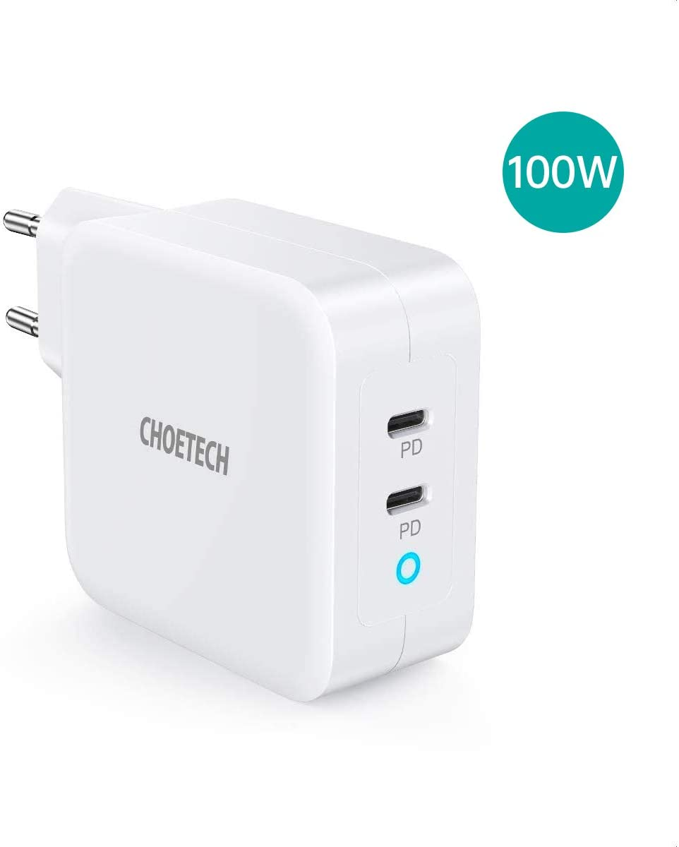 CHOETECH Chargeur USBC PD 100W, [GaN Tech]2 Ports Chargeur Secteur USB C Power Delivery pour MacBook Pro/Air,iPad Pro,iPhone 11 Pro Max/XR/Se 2,Galaxy S20 /Note 10,Huawei Mate30