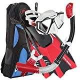U.S. Divers Lux Platinum Snorkel Set Compatible with GoPro - Panoramic View Mask, Pivot Fins, Dry Top Snorkel + Gear Bag, Black and Red L/LX