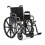 Medline Strong and Sturdy Wheelchair with Desk-Length Arms and Swing-Away Leg Rests for Easy Transfers, 20' Seat