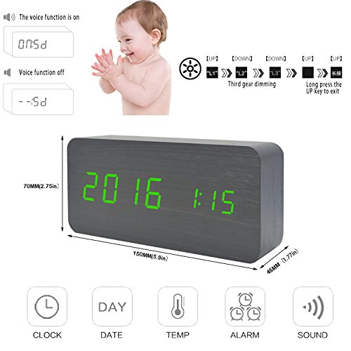 GO HAND LED Wood Alarm Clock Desktop Electronic Snooze Travel Home Modern  Fashion Calendar Digital Displays Date Time Temperature with Voice Control