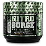 NITROSURGE Pre Workout Supplement - Endless Energy, Instant Strength Gains, Clear Focus, Intense Pumps - Nitric Oxide Booster & Powerful Preworkout Energy Powder - 30 Servings, Pineapple