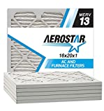 Aerostar 16x20x1 MERV 13 Pleated Air Filter, Made in the USA, 6-Pack