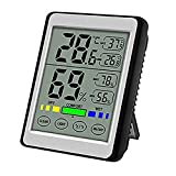 yaufey Digital Hygrometer Indoor Thermometer Accurate Humidity Guage and Temperature Indicator, Touch Large Backlight LCD Screen Humidity Monitor, Wall Mount & Desktop Hygrometer for Home, Office