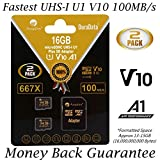 2 Pack 16GB Micro SD Card Plus Adapter. 100MB/s 667X V10 A1 U1 Class 10 UHS-I MicroSD Memory Card 16 GB. Amplim UHS-1 16G MicroSDHC TF Card for Cell Phones, Fire, Cameras, GoPro, DJI