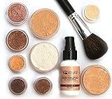 iQ Natural Mineral Makeup Starter Kit - Powder Brush, Silk Primer, Mineral Foundation, Setting Veil, Bisque Concealer, Bronzer + Eye Shadow for Flawless Bare Looking Skin, Full Set (Medium Beige)