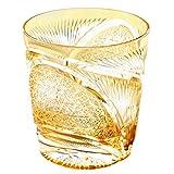Edo Kiriko Crystal Double Old Fashioned Glass, 8.4oz Cut Glass HIsho Skyward - Amber [Japanese Crafts Sakura]