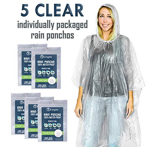 Lingito-5-Pack-Rain-Poncho-Disposable-Emergency-Rain-Ponchos-for-Men-Women-Teens-Assorted-Colors-with-Individual-Packaging-Extra-Thick-Heavy-Duty