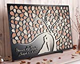 456Yedda Custom Wedding Guest Book Alternative Tree of Leaves 3D Guestbook Wooden Sign Personalized Rustic Wedding Gift Ideas Couple Silhouette