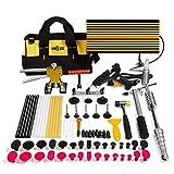 Mookis Paintless Dent Repair Tools, 77PCS Dent Removal Tools with Slider Hammer Lifter Dent Lifter, Bridge Puller Set, LED Line Board, Glue Stricks, Pro Pulling Tabs Kit