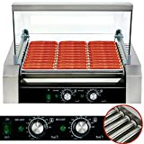 Safstar Commercial 30 Hot Dog 11 Roller Machine Stainless Steel Non Stick Electric Hotdog Grilling Cooker Appliances with Cover - 1650 Watt