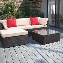 Devoko 5 Pieces Patio Furniture Sets All-Weather Outdoor Sectional Sofa Manual Weaving Wicker Rattan Patio Conversation Set with Cushion and Glass Table (Beige)