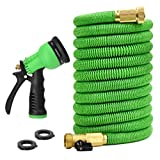 Glayko Tm 75 Feet Expandable Garden Hose - New 2018 Super Strong Construction- Strong Webbing -Solid Brass End + 8 Function Spray Nozzle and Shut-Off Valve
