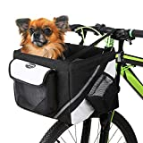 Lixada Bicycle Basket, Pet Cat Dog Carrier Bike Handlebar Front Basket - Folding Detachable Removable Easy Install Quick Released Picnic Shopping Bag, Max. Bearing: 22lbs