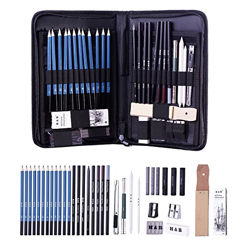 H & B Graphite Drawing Pencils and Sketch Set 40-Piece Set Complete Artist Kit Includes Charcoals, Pastels and Zippered Carry Case, Includes Rare Pop-Up Stand