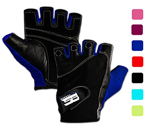 RIMSports Gym Gloves for Powerlifting, Weight Training, Biking, Cycling - Premium Quality Weights Lifting Glove - Washable Gloves for Callus and Blister Protection Blue M