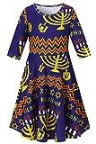 RAISEVERN Teenager Girls Hanukkah Geometric Dress Fashion Midi Sleeve Frock Penguin Sundresses Crew Neck Princess Skirts Chanukah Casual Candlestick Outfits for Maccabi Festival Size 10-13 Years
