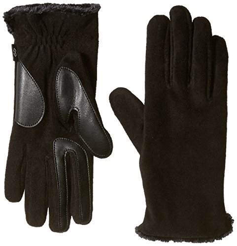 Isotoner Women's Stretch Fleece Gloves with Microluxe and Smart Touch Technology, Black, One Size