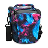USA Gear SLR Camera Case Bag (Galaxy) with Top Loading Accessibility, Adjustable Shoulder Sling, Padded Handle, Removable Rain Cover and Weather Resistant Bottom