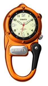 Dakota Clip Watch With LED Flashlight, Mini Clip Microlight Watch, Orange