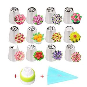 Russian Piping Tips Set 14 Pieces All in One Cake Decorating Supplies Kit 12 Icing Tips Couplers and Bags Professional Baking Supplies Frosting Tools Set for Cupcakes Cake Mould Cake Cup (14pcs) 5147WhyhJFL