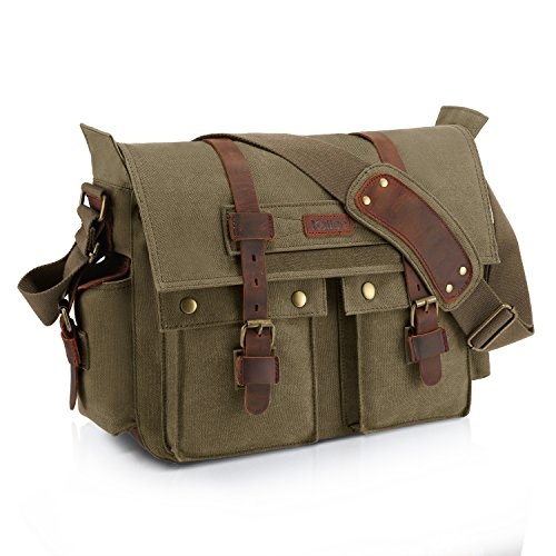 Kattee XZ162AG-FBA-1 British Style Retro Unisex Canvas Leather Messenger Shoulder Bag Fits 14.7' Laptop, Army Green