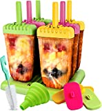 Popsicle Molds all-inclusive Pack - BPA Free - Food Grade Silicone & Plastic Lids + Wooden Sticks + Funnel + Brush + Storage Bag + Lebice Recipes E-book