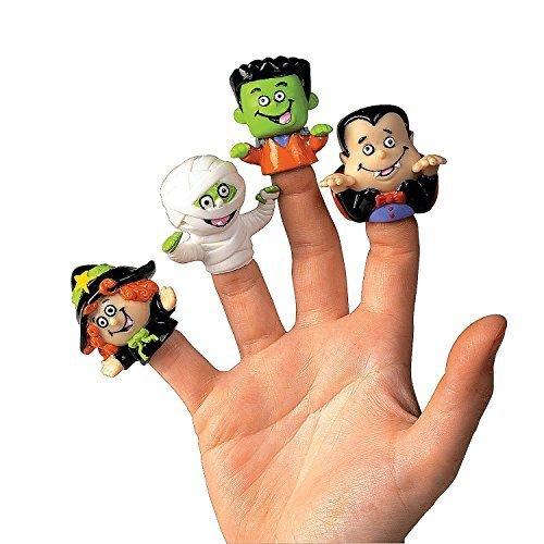 Dozen Vinyl Halloween Character Finger Puppets (Witch, Dracula, Ghoul, Frankenstein)