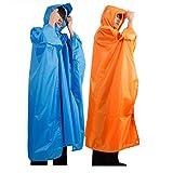 Kangkang@ Sports Hiking Camping Multi-function Raincoat Poncho / Backpack Hood / Ground Pad Mat / Sunshade impermeable para lluvia poncho (blue)
