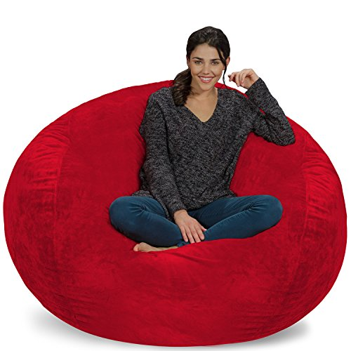 Chill Sack Bean Bag Chair: Giant 5' Memory Foam Furniture Bean Bag - Big Sofa with Soft Micro Fiber Cover - Red Furry