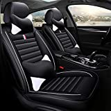 YRRC Car Seat Covers Full Set, Anti-Slip Universal Fit PU Leather 5 seat Auto Car Seat Cushion Covers Protector for Men/Women, SUV, Midsize Sedan, Airbag Compatible,Black