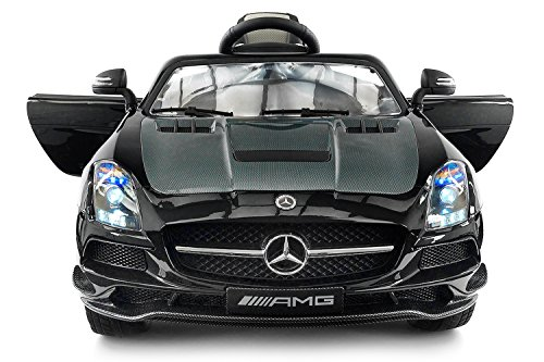 Carbon Black SLS AMG Mercedes Benz Car For Kids, 12V Powered Kids Ride On Car