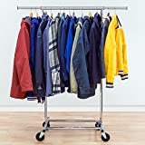 Tatkraft Darren Heavy Duty Adjustable Clothes Rack, Hanging Rack on Wheels, 220lb (100kg) Capacity, Easy to Set Up, Chromed Steel