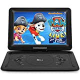 DR. J 16.8' Portable DVD Player with 14.1' Large HD Screen, 7 Hours Rechargeable Battery, Support USB/SD Card/Sync TV and Multiple Disc Formats, High Volume Speaker, Black