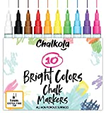 1mm Extra Fine Tip Chalk Markers - Pack of 10 neon Color pens | Non-Toxic, Wet Wipe | For Chalkboard, Window, Blackboards, Glass